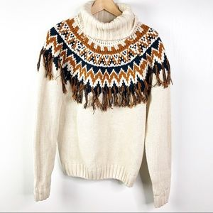 Forever 21 fringe sweater cream chevron pattern M